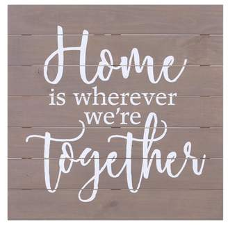 """Patton Wall Decor 30""""x30"""" Home Is Wherever We're Together Wood Pallet Wall Art Gray"""