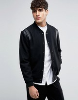 Selected Varsity Bomber with Leather Shoulder Trims