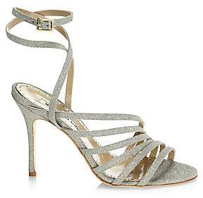 Manolo Blahnik Women's Acante Ankle-Wrap Glitter Leather Sandals