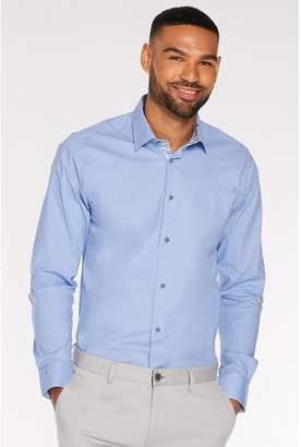 Quiz Long Sleeve Plain Shirt in White Powder Blue