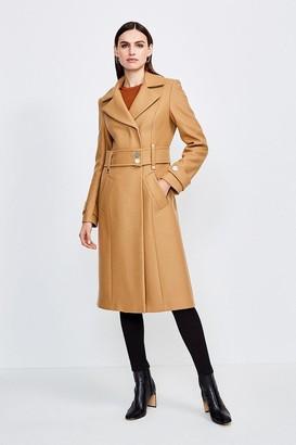 Karen Millen Minimal Military Wool Blend Coat