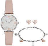 Emporio Armani Women's Gianni Nude Leather Strap Watch, Bracelet & Earrings Gift Set 32mm AR8039