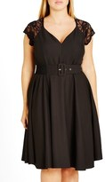 City Chic Lace Sleeve Belted Fit & Flare Dress (Plus Size)