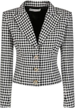 Alessandra Rich Black And White Wool-cotton Blend Blazer