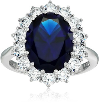 """Amazon Collection Platinum-Plated Sterling Silver Celebrity""""Kate"""" Ring made with Swarovski Zirconia Accents Size 6"""