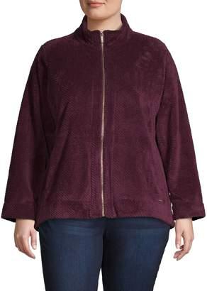 Calvin Klein Plus Ribbed Teddy Zip Jacket