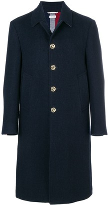 Thom Browne Center-Back Stripe Unconstructed Relaxed Fit Bal Collar Overcoat