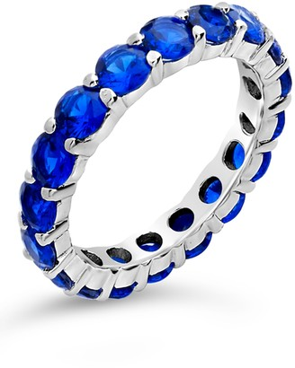 Sterling Forever Sterling Silver CZ Celebration Band Ring - Sapphire