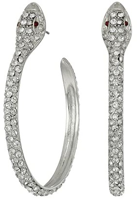 Kenneth Jay Lane Silver/Crystal Pave Snake Hoop Pierced Earrings (Rhodium/Rhinestone) Earring