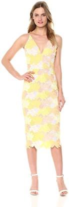Dress the Population Women's Aurora Plunging Spaghetti Strap Midi Dress