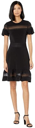 MICHAEL Michael Kors Mesh Mix Short Sleeve Dress (Black) Women's Dress