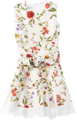Oscar de la Renta Mixed Botanical Pique Dress