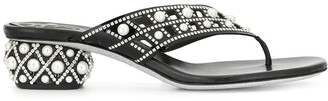 Rene Caovilla Pearl Embellished Satin Sandals