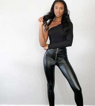 Parisian Tall faux leather leggings with ring zip pull in black