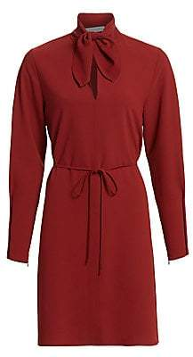 See by Chloe Women's Long-Sleeve Tieneck Crepe Shirtdress