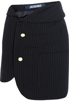 Jacquemus Pinstriped Wool Mini Skirt - Navy