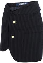 Jacquemus Pinstriped Wool Mini Skirt - Navy
