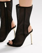 Carvela Gloria Black Lace Up Laser Cut Calf Boots