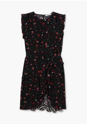 Derek Lam 10 Crosby Lyra Belted Splatter Floral Ruffle Dress