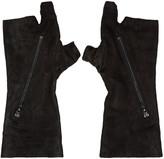 Julius Black Goatskin Fingerless Gloves