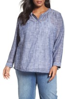 Plus Size Women's Caslon Fringe Hem Cotton Tunic