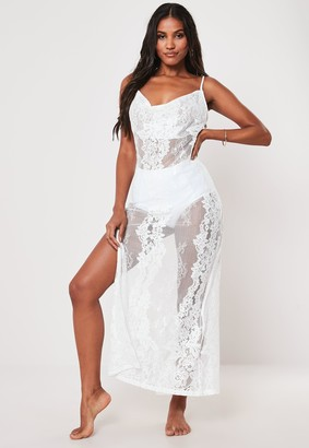 Missguided Premium White Lace Cowl Neck Maxi Beach Dress