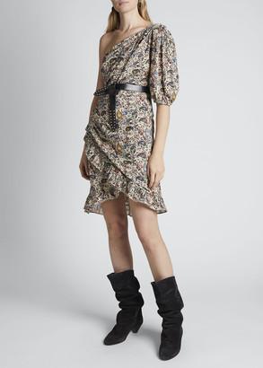 Etoile Isabel Marant Esthera One-Shoulder Paisley Dress