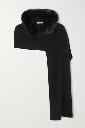 Johnstons of Elgin Hooded Faux Fur-trimmed Cashmere Scarf - Black