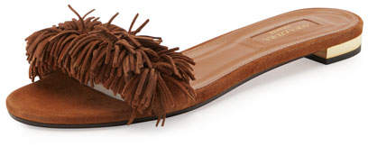 Aquazzura Wild Thing Suede Flat Slide Sandal, Brown