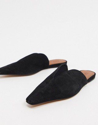 Asos DESIGN Landing suede mules in black