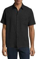 Neiman Marcus Mini Box-Print Short-Sleeve Shirt, Black