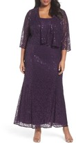 Alex Evenings Plus Size Women's Sequin Lace Gown With Jacket