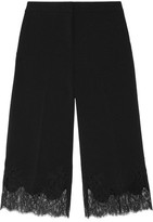 MICHAEL Michael Kors Cropped Lace-Trimmed Stretch-Crepe Wide-Leg Pants