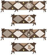 Sweet Jojo Designs Teddy Bear 4-Piece Crib Bumper Set in Chocolate