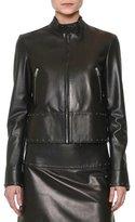 Valentino Studded Leather Biker Jacket, Black