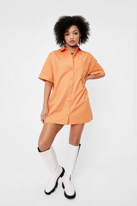 Nasty Gal Womens Out of the Boxy Petite Shirt Dress - Orange