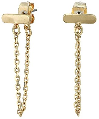 Lucky Brand Delicate Bar with Chain Stud Earrings (Gold) Earring