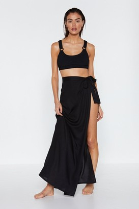 Nasty Gal Womens Hey Maxi Wrap Cover-Up Sarong - Black - S, Black