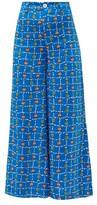 STAUD Plum Vegetable-print Linen Wide-leg Trousers - Womens - Blue Multi