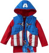 Boys 4-7 Marvel Captain America Heavyweight Fleece-Lined Vest & Tee Set