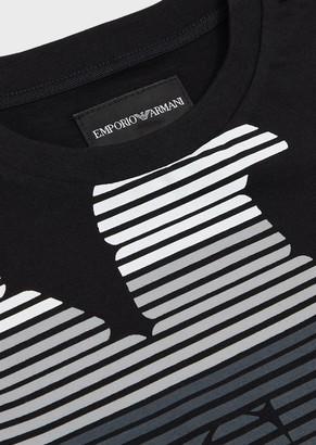 Emporio Armani Jersey T-Shirt With Multi-Striped Eagle