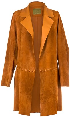 Zut London Long Classic Suede Leather Jacket With Side Pockets - Honey