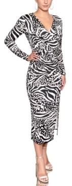 Christian Siriano New York Printed Twist-Front Midi Dress