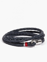 Miansai Navy Thrice Bracelet with Sterling Silver Trim