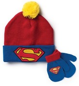 Superman Toddler Boys' Beanie And Mittens 3-Piece Set - Red One Size