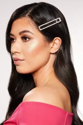 Quiz Silver Diamante Rectangle Hair Clip