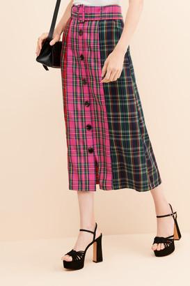 ENGLISH FACTORY Contrast Plaid Midi Skirt