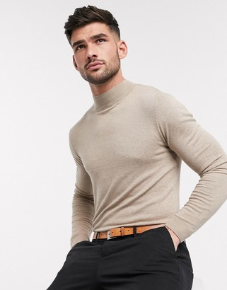 Asos DESIGN cotton turtle neck jumper in light brown