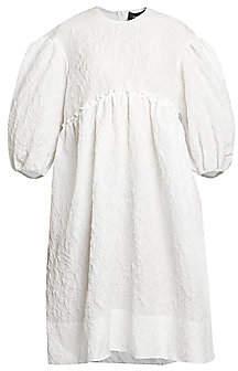 Simone Rocha Women's Cloqué Puff-Sleeve Smock Dress