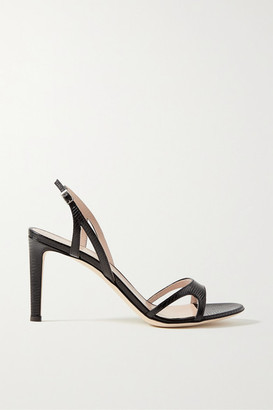 Giuseppe Zanotti Lizard-effect Leather Slingback Sandals - Black